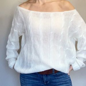 Missguided Cable Knit Off Shoulder Sweater